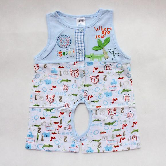 2014婴派夏季新款婴幼儿童装男女宝宝纯棉无袖连体衣