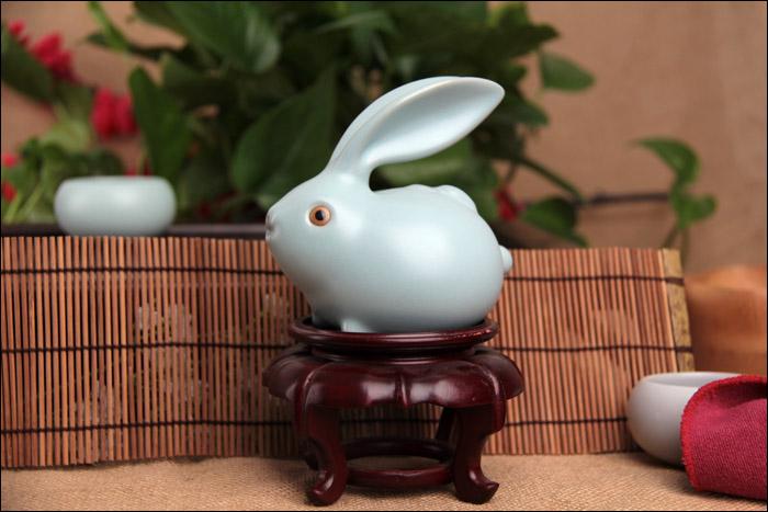 兔子茶具茶玩精品摆件天
