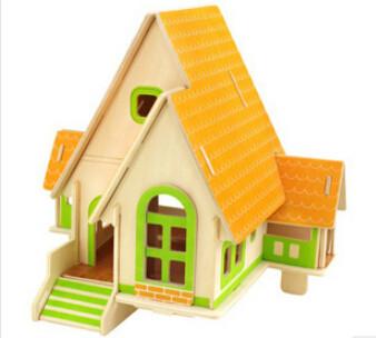 木质3d立体拼图拼板diy手工拼插森林别墅小屋模型
