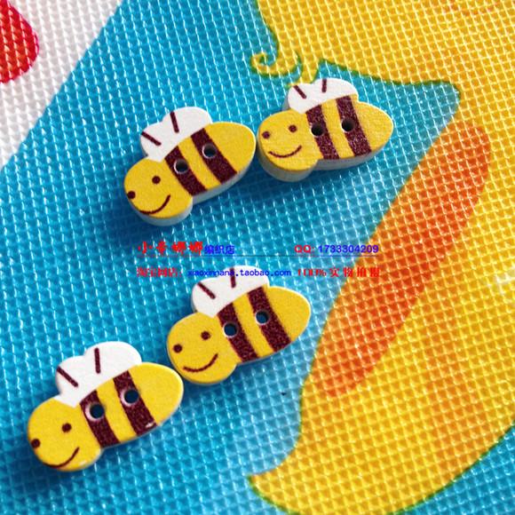 小蜜蜂扣子卡通扣子儿童扣子纽扣彩绘木扣子纽扣可爱纽扣diy辅助