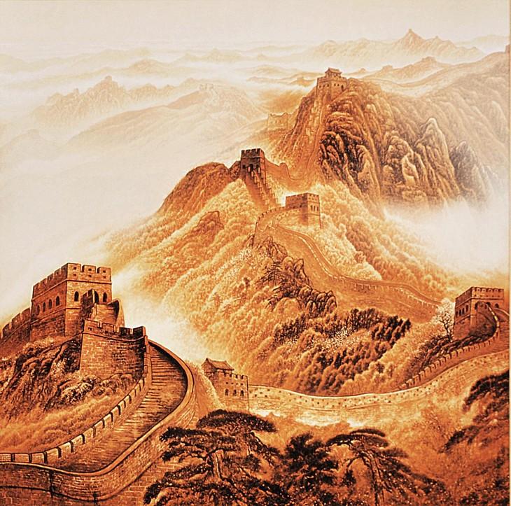 4,长城画以金色为主,是中国民间烙画.