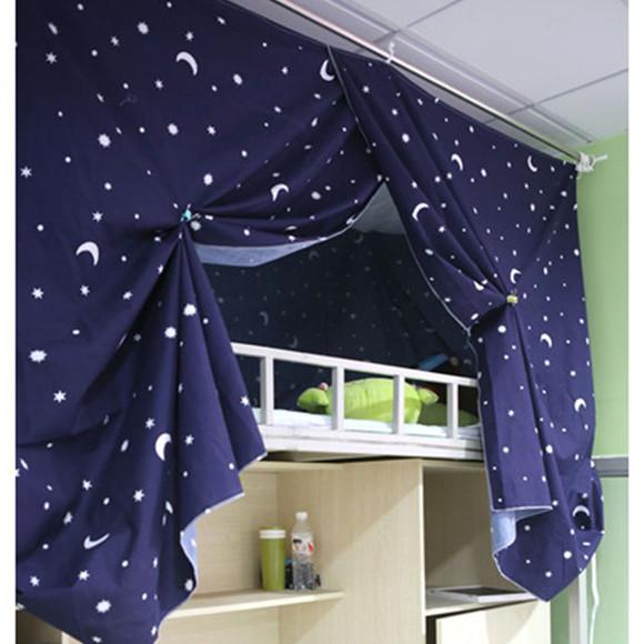 女寝室girldorm大学生宿舍必备遮光床帘 寝室床幔 日月星辰款|一淘网图片