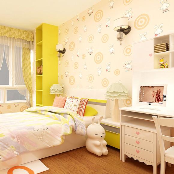 怡科无纺布粉色壁纸 女孩可爱卡通卧室儿童房墙纸
