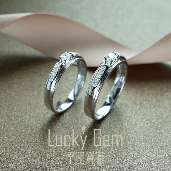兰卡珠宝 18k白金钻石戒指 结婚求婚戒指 情侣对戒 带