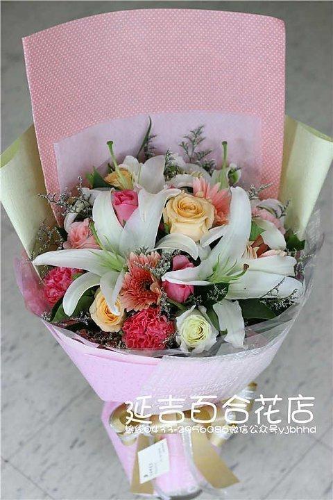 百合韩式花束包装图片