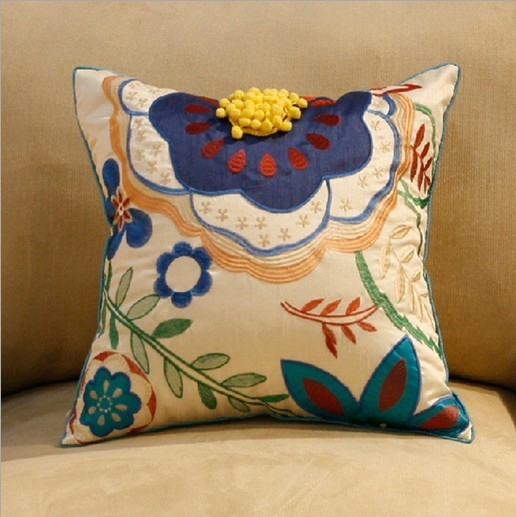 3d立体手工贴布绣花花朵抱枕
