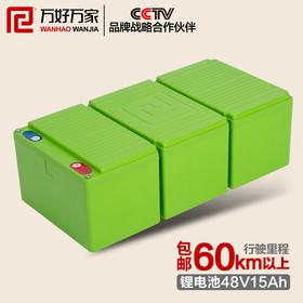 万好万家电动车锂电池48v15ah 电瓶车电瓶 电动自行车蓄电池图片