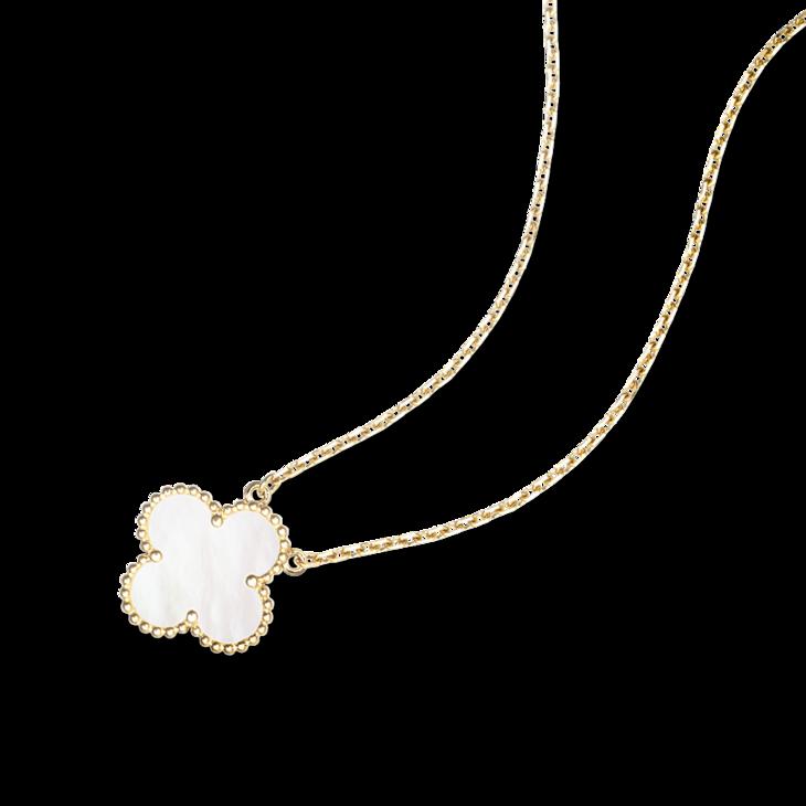 白贝母四叶草项链