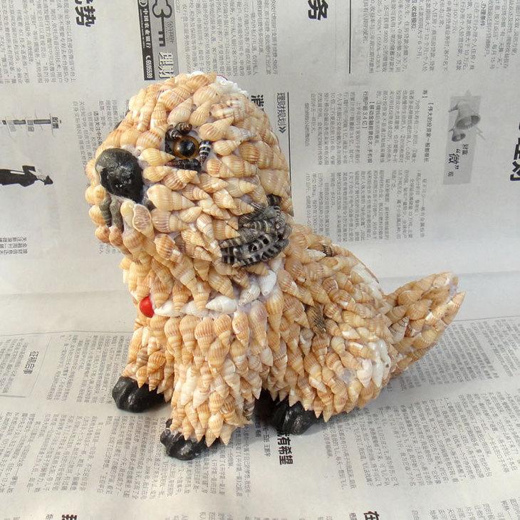 椰香海南特产贝壳十二生肖狗图片