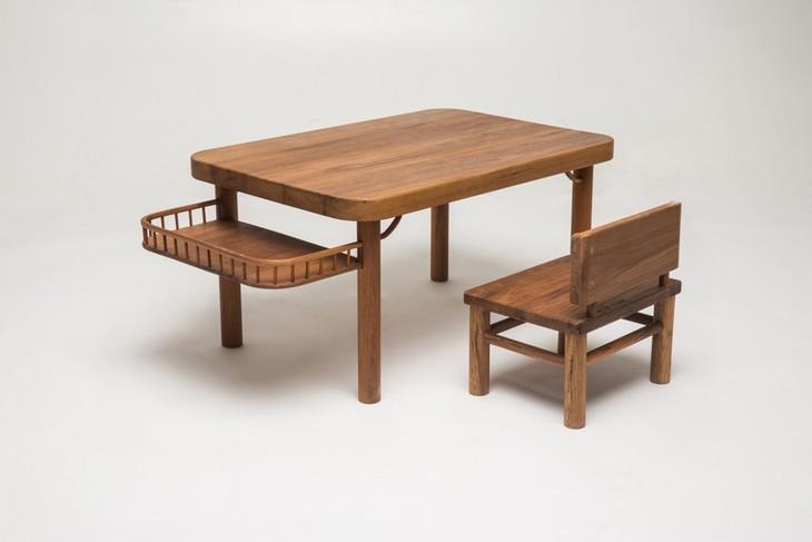 三生川 儿童桌椅组合   花朵 缅甸柚木儿童写画桌椅
