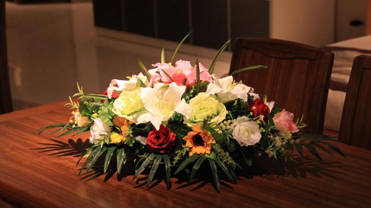 桌花台面花艺套装演讲台会议桌装饰公司前台摆设花
