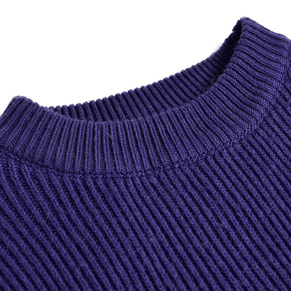 ixw欧美街头圆领紫色百搭长款宽松廓形套头毛衣包臀连衣裙 hb3813