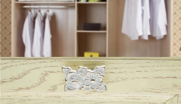 泰亨园 高档象牙白雕花柜子拉手 欧式田园风格 衣柜橱柜抽屉把手