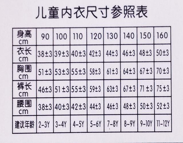 以下是我们商品的码数表,请核对后再确定下单