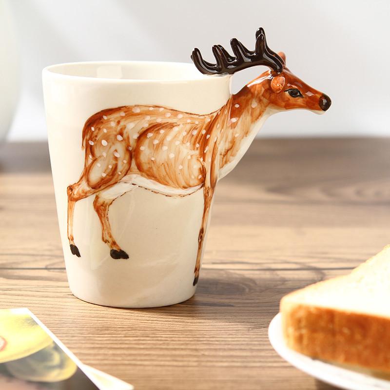 趣玩3d立体陶瓷杯 纯手绘动物杯 个性彩绘水杯 创意咖啡杯水杯马克杯