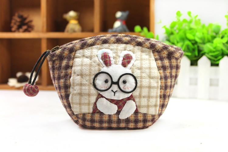 手工diy拼布材料包 可爱兔博士零钱包(大)