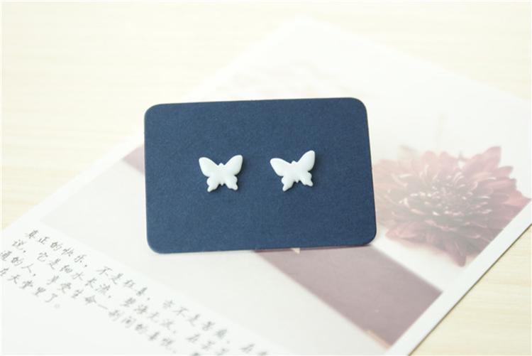 纯白蝴蝶 手绘小清新甜美耳钉饰品 创意首饰 清新森女