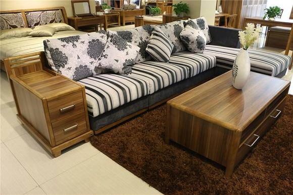 森盛美洲 胡桃色 板木沙发 1 2 3 茶几 边柜