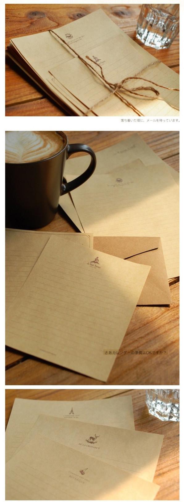 牛皮纸信纸 一套8张 欧式鹅毛笔 创意复古清新小礼物品 生日奖品