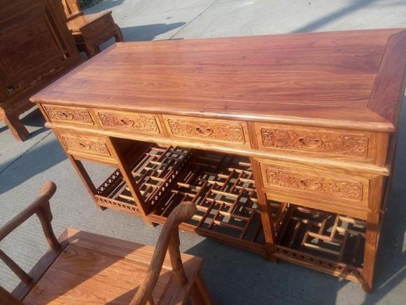 6米直脚办公台配官帽椅红木书桌写字桌办公桌写字台