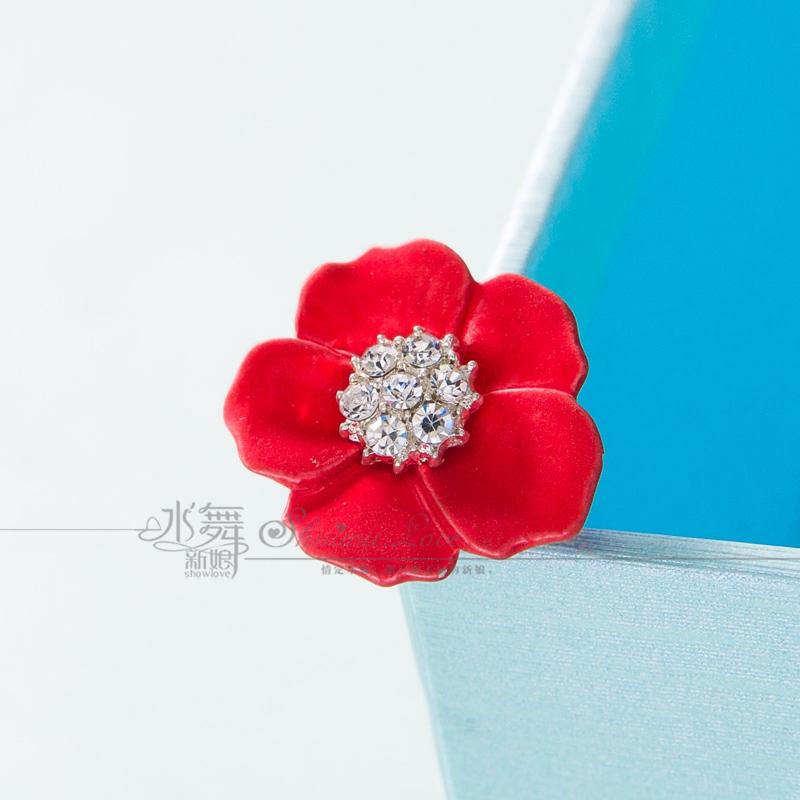 水舞新娘 新款 水钻红色花朵u型发簪盘发结婚簪子