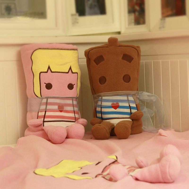 趣玩 伊品堂可爱usb空调保暖毯 张小盒卡通周边毛绒暖和毯 午睡抱枕毯