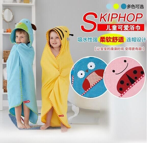 hop美国原装进口可爱动物连帽浴巾