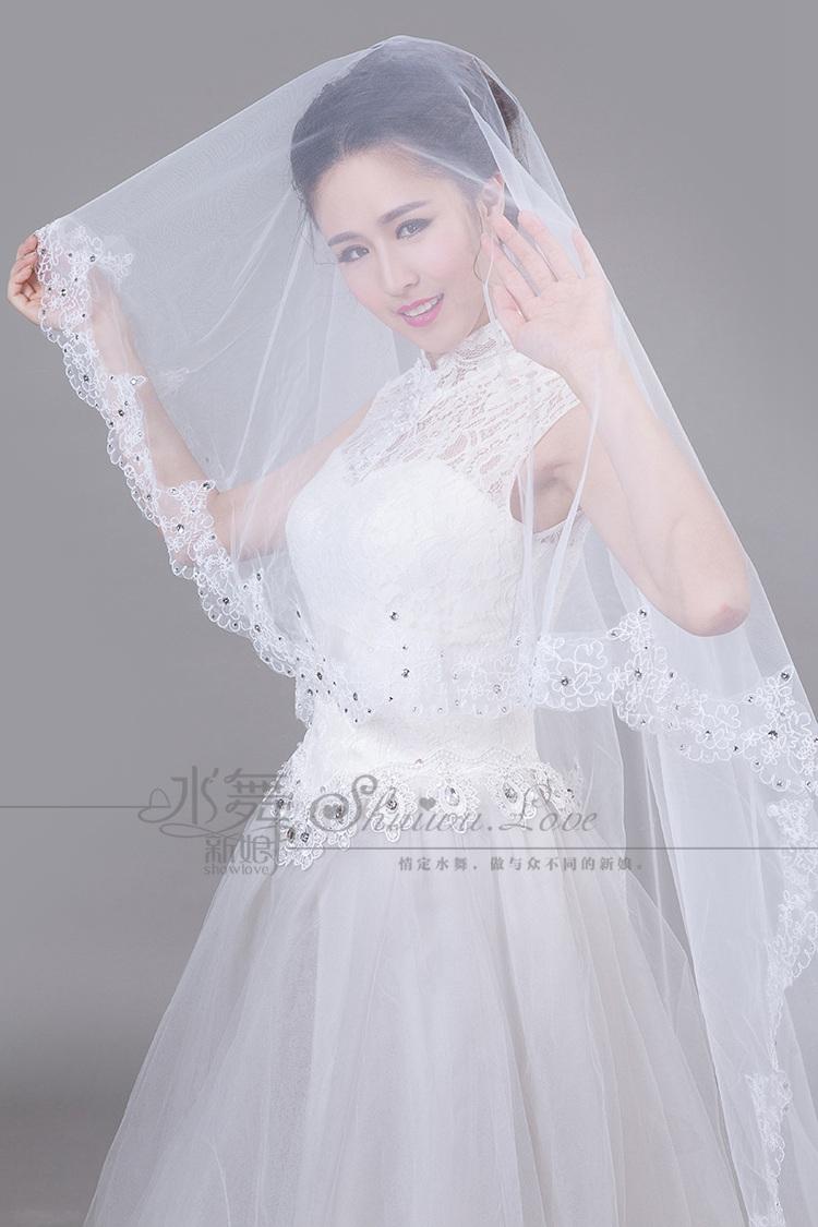 水舞新娘 高档 点钻镂空蕾丝花边结婚头纱拖尾婚纱头纱软婚礼面纱