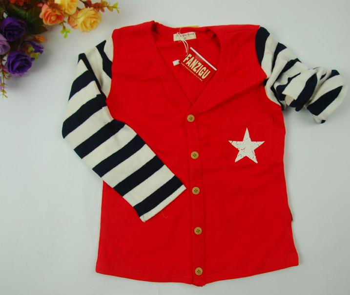 红色黑白条纹针织开衫