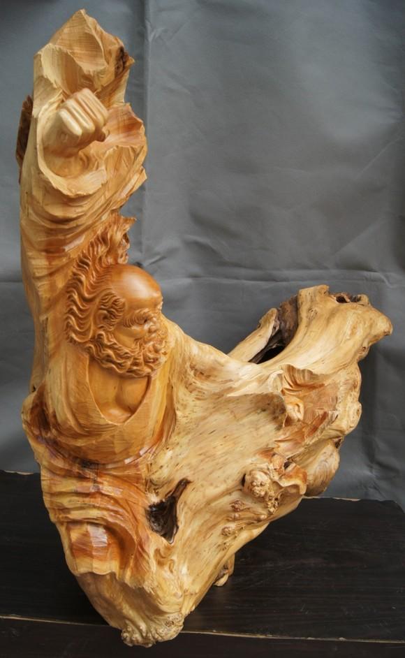 太行崖柏根雕达摩佛像木雕艺术摆件 别墅会所酒店高档