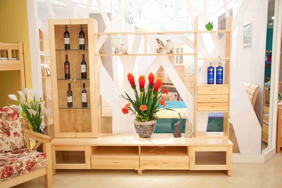纯实木影视墙 电视柜 进口松木 环保家具
