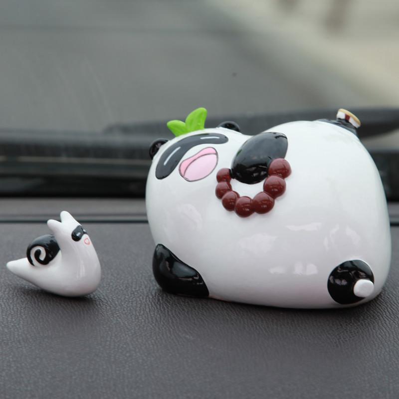 懒拖拖熊猫可爱卡通汽车香水座摆件 车内摆件车载香水