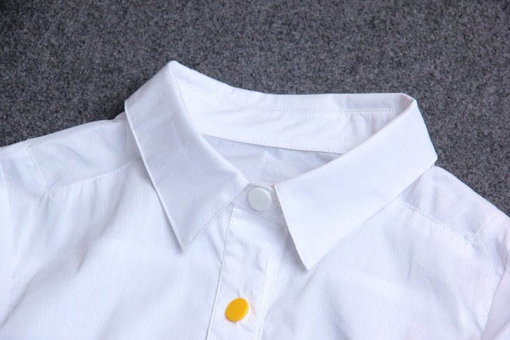 林允儿同款宽松韩版手绘涂鸦印花翻领七分袖前短后长衬衫