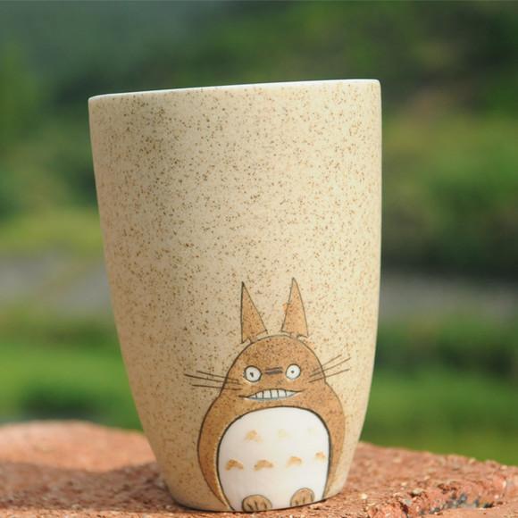 卡通陶瓷杯龙猫手绘情侣马克杯咖啡杯 小清新创意杯子