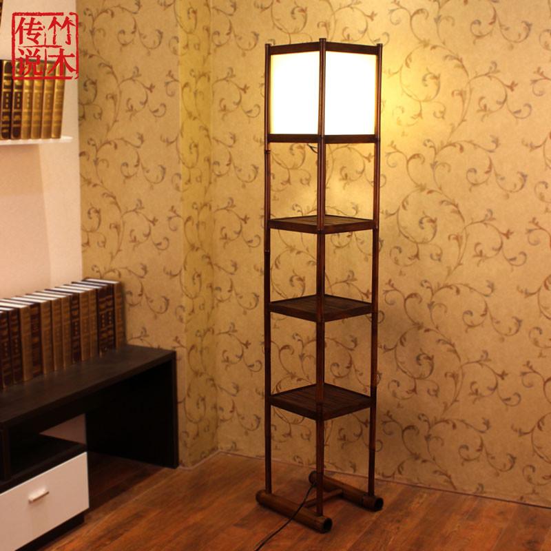 竹木传说 新中式多功能落地灯 现代羊皮竹木灯具茶楼