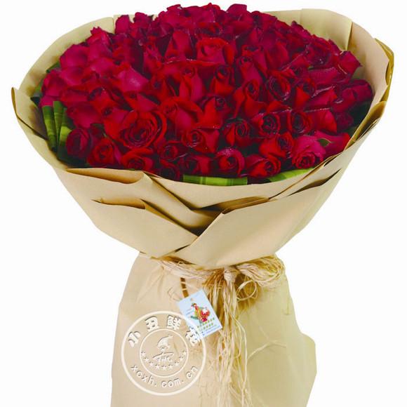 魂牵梦萦—99支a级红玫瑰大气包装花束图片