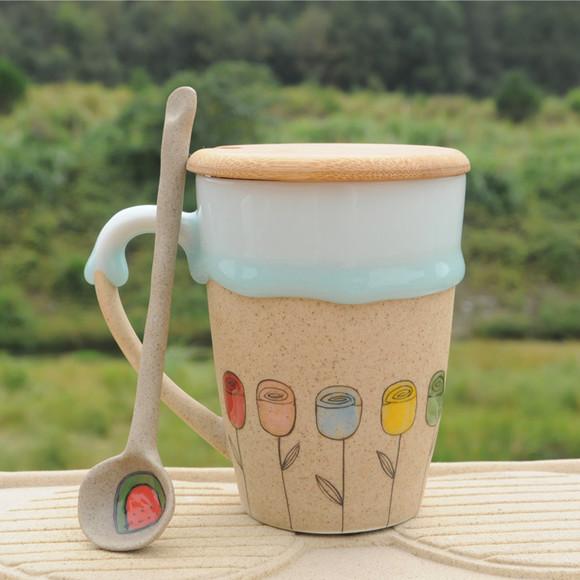 景德镇手绘可爱卡通小花创意杯子水杯情侣定制生日礼物特价流釉杯