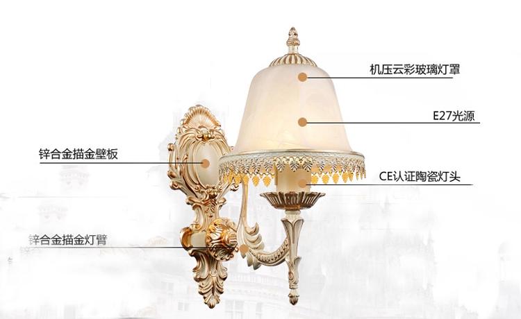 新款上市创意壁灯 欧式壁灯床头灯镜前灯饰客厅卧室田园现代简约
