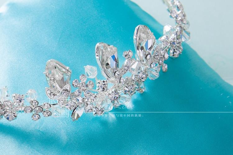 手工串珠大颗水钻皇冠婚纱头饰结婚发箍