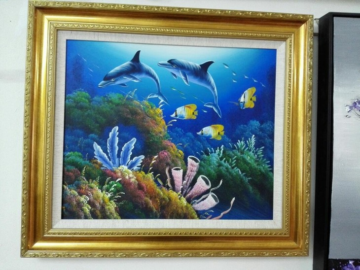 手绘油画《海底世界》68x78cm 职业油画家陈可倩作品