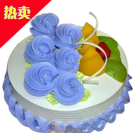 西西麦诺特价热卖蓝色生日蛋糕 广东创意蛋糕定制图片