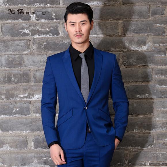 新郎蓝色西服搭配蓝色衬衫