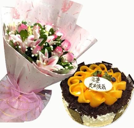 鲜花组合全国热卖|鲜花蛋糕预定配送|欧式水果蛋糕