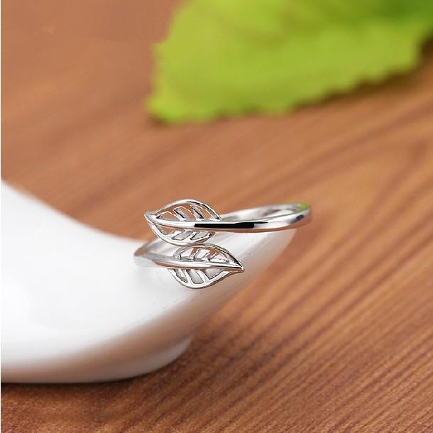 阿尤925纯银戒指 树叶形女款 简约时尚韩版开口女戒银