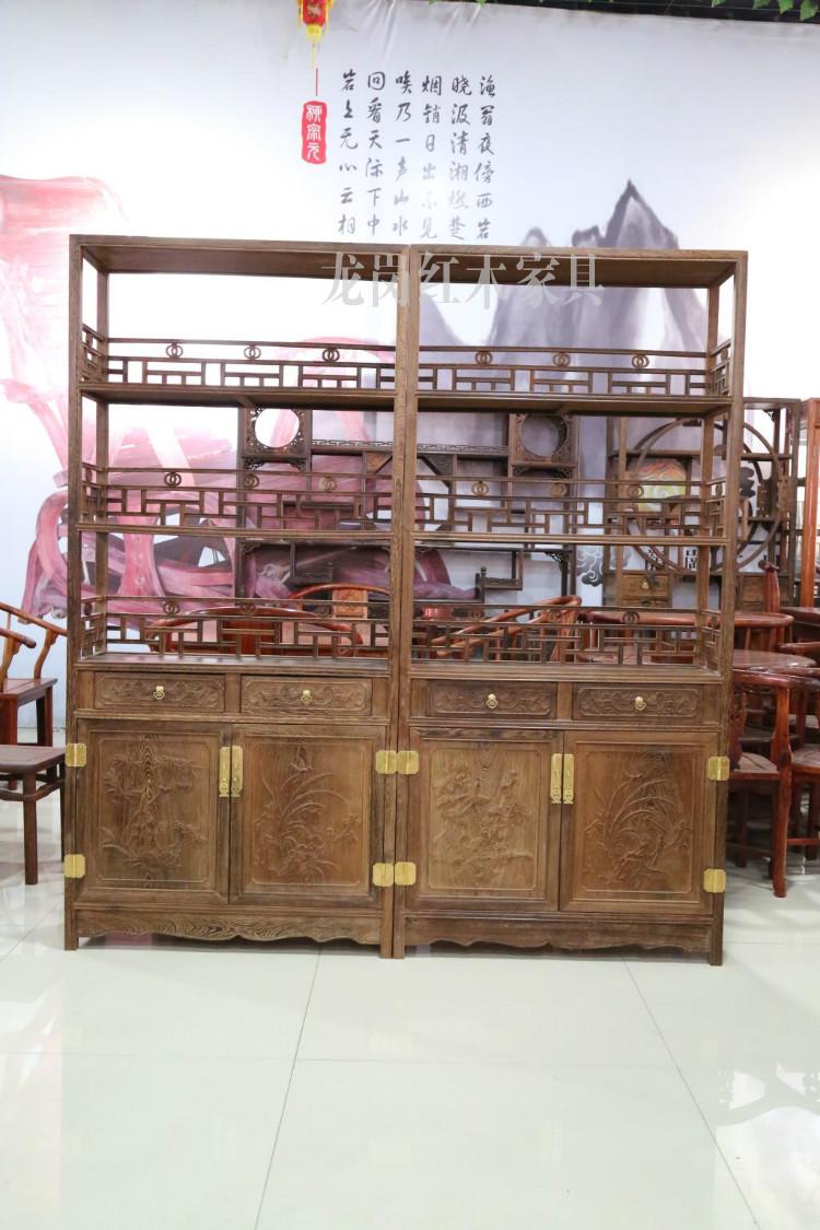 龙岗红木家具,鸡翅木书柜,红木展示柜书架,实木柜子