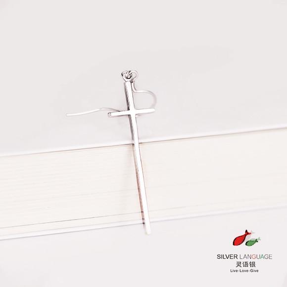 十字架耳钉耳环