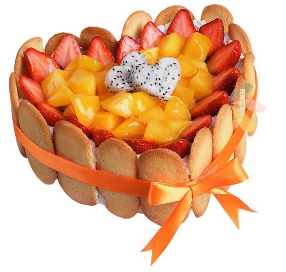 草莓水果桃心 蛋糕