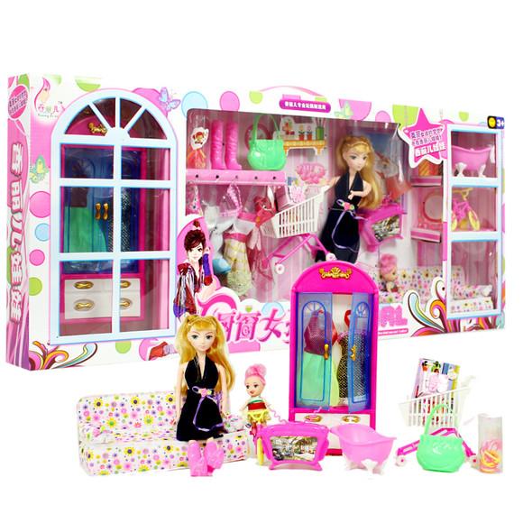 芭比娃娃甜甜屋玩具 梦幻衣橱芭比洋娃娃套装 女孩儿童玩具正品