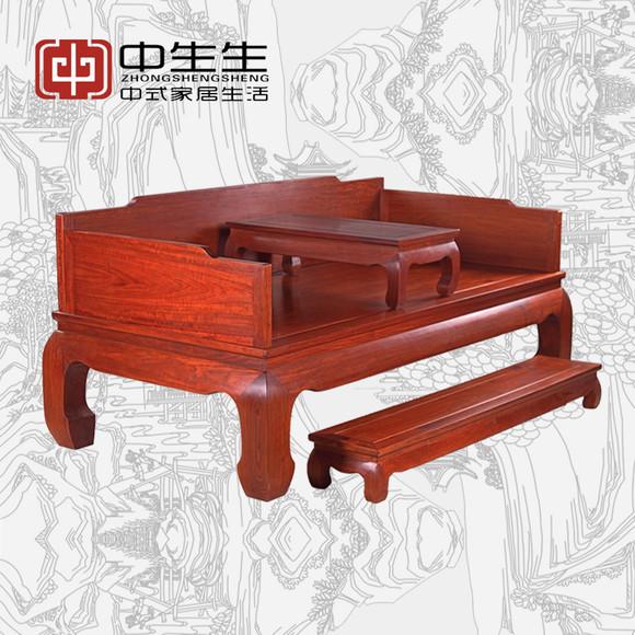 0米现代简约中式光板榫卯结构非洲花梨木红木罗汉床3