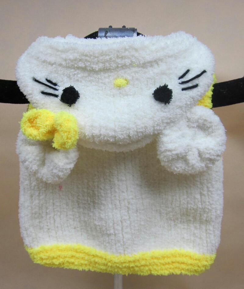 鸿与然手工编织童装马甲 珊瑚绒毛线卡通童装